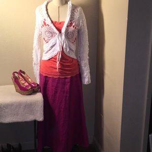 TALBOTS 100% Linen A-Line Swing Skirt Sz 14. NWOT